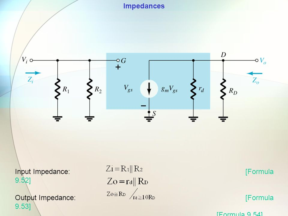 Impedances Input Impedance: [Formula 9.52] Output Impedance: [Formula 9.53] [Formula 9.54]